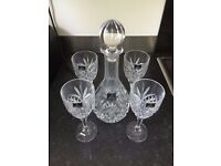 Royal Doulton Decanter Set: Round Decanter and 4 Wine Glasses