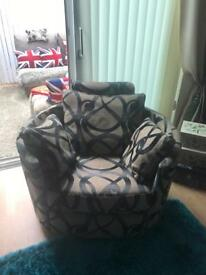 Brown fabric corner suite plus swivel recliner chair