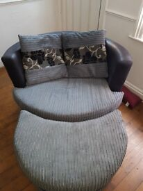 Lovely swivel love chair/ sofa chair with footrest
