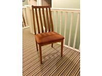One Retro / Vintage Teak Dining Room Chair - Brown Seat - Excellent Quality