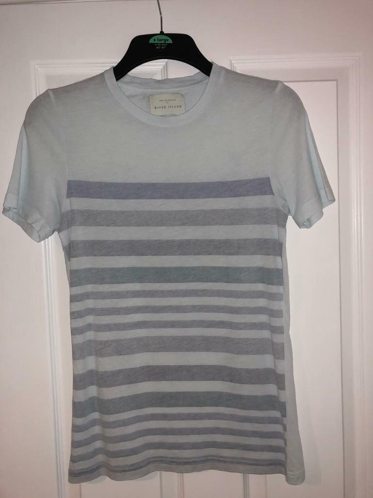 River island blue and white tshirt mens size xxs