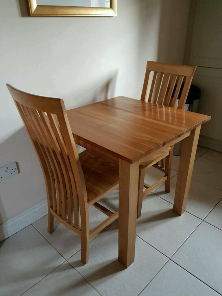 Solid Oak Square Dining Table 2 High Slat Back Chairs