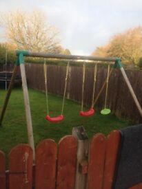 Little tikes swing set plus 12ft trampoline