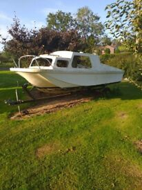 17 foot twin hull and trailer