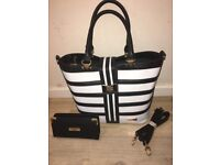 Ted Baker Hand/ Tote Bag with Purse (Black & White Striped with bow) Brand New, Never Used Gift