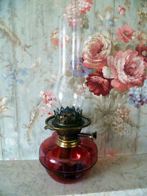 """Antique oil lamp: YOUNG'S: Ruby/Cranberry glass: 16"""""""