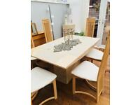 Travertine marble dining table with 6 high back chairs- excellent condition