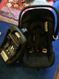 Black Mothercare baby car seat suitable from birth