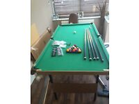 6ft snooker/pool table with pool and snooker balls , ques etc