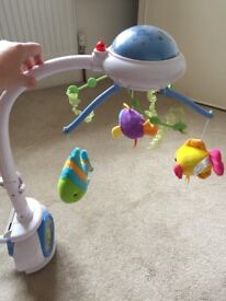 Gorgeous mobile for crib/cot, lights and music
