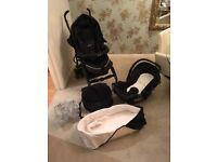 Silver Cross 3D pushchair & pram, car seat, rain cover, nappy bag & square buggy umbrella