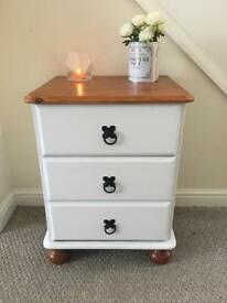 Wooden bedside table with corona handles