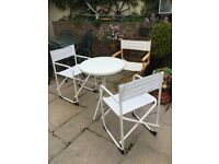 IKEA Bistro Set White Round Table & 3 Folding Chairs Table & Chairs pack flat for easy storage