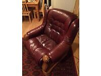 Solid Oak & Leather DFS Sofas