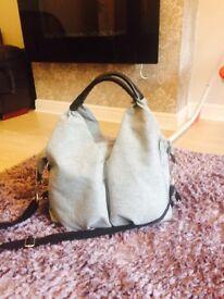 Laesing neckline changing bag, grey melange