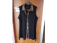 Brand New Women's Black See Through Leopard Collar Hem Blouse. New Look. Size 12