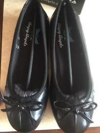 Angry angels ballerina black leather shoes
