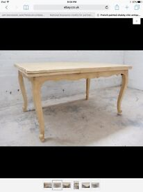 French cream painted antique dining table.