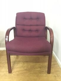 Reception/Visitor Chair, With Arms. Finished In Rosewood. 3 In Stock!