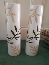2 Large Cream Decorative Vases