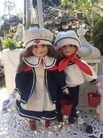 Pair Of Sailor China Dolls