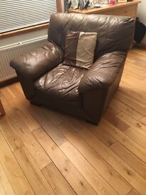 CHOCOLATE BROWN LEATHER SOFAS, CHAIR & FOOTSTOOL FOR SALE £100
