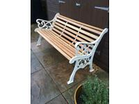 White and American oak 3 Seater Cast Iron Garden & Patio Bench