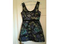 Monsoon multi dress black green purple silver flower pattern size 10 for Evening Or Xmas Party