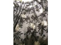 Full length heavy fully lined black and grey curtains