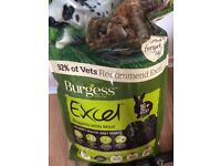 Unopened 10kg bag of burgess excel rabbit food