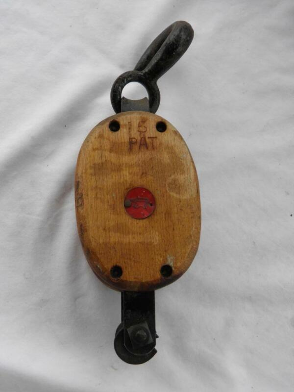 BLOCK AND TACKLE SINGLE WOODEN MARITIME BLOCK WITH ANVIL MAKER