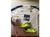 tranmere rovers signed ball, shirt and boots
