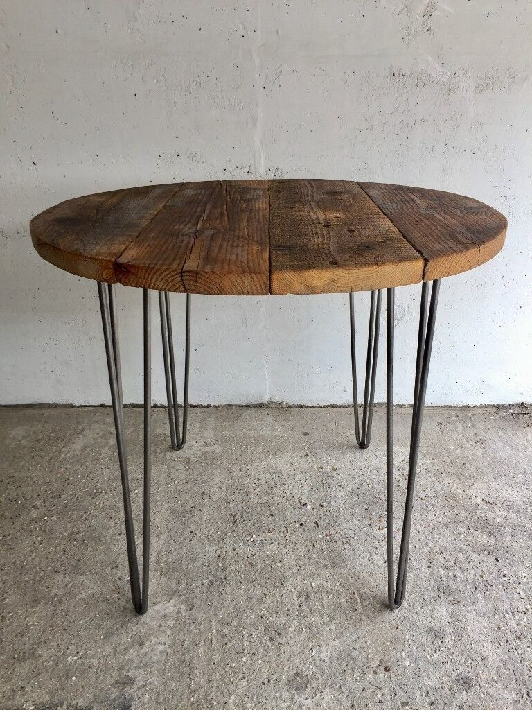Industrial Reclaimed Timber Scaffold Board, Round Table. On Vintage, Retro Hairpin Legs  in