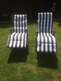 2 Recliners with Cushions New Please Read carefully