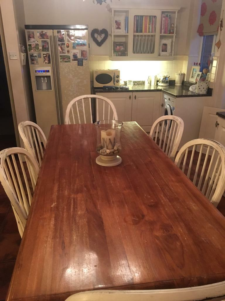 Laura Ashley Bramley Dining Table And Six Chairs Distressed Cream 2350RRP