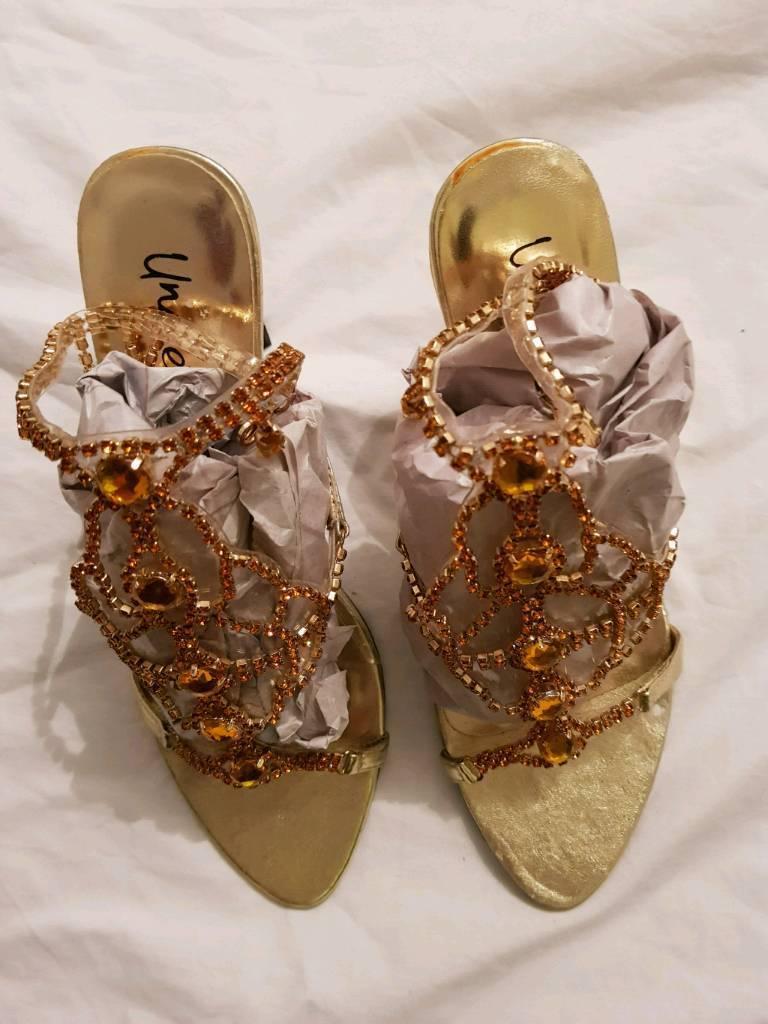 Gold jewelled heels
