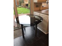 Black glass chrome table double layer and 4 New chairs