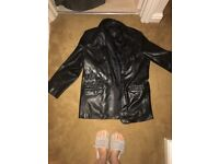 Cecil Gee men's black leather cat. Size medium
