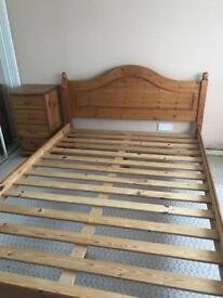 Pine double bed and 4 drawer unit