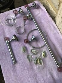 Chrome and crackled glass bathroom/ cloakroom set New