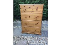 Large Solid Pine 4 Deep Drawer Chest of Drawers