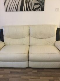 Beautiful 3 and 2 white leather sofas all recliners very comfortable selling due to house move