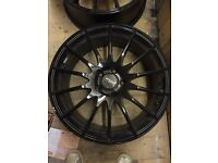 "4 black Fox Racing alloys (18"") with two tyres and vario bolts (RRP £500+)"