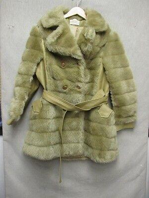 Z6818 Fingerhut Fashions Womens Blond Faux Fur With Faux Leather Vintage Jacket