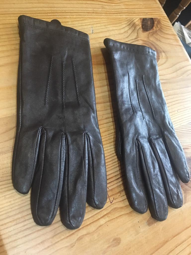 Ladies leather gloves extra small - Marks And Spencer Chocolate Brown 100 Leather Gloves Size Small Ladies