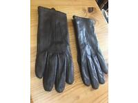 Marks and spencer chocolate brown 100% leather gloves SIZE SMALL Ladies
