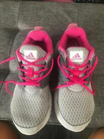 Girls adidas pink and grey galaxy trainers uk 1