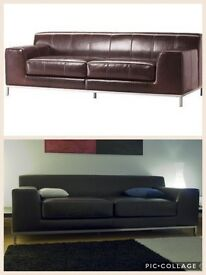 IKEA leather sofa settee 'Kramfors' 3 seater