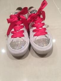 Girls white converse trainers with diamantés