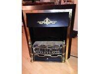 Black and gold brushed chrome electric fire